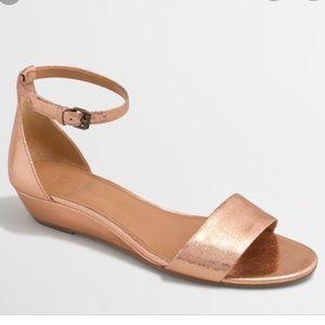 J CREW Rose Gold Metallic Demi Wedges Sandals 8